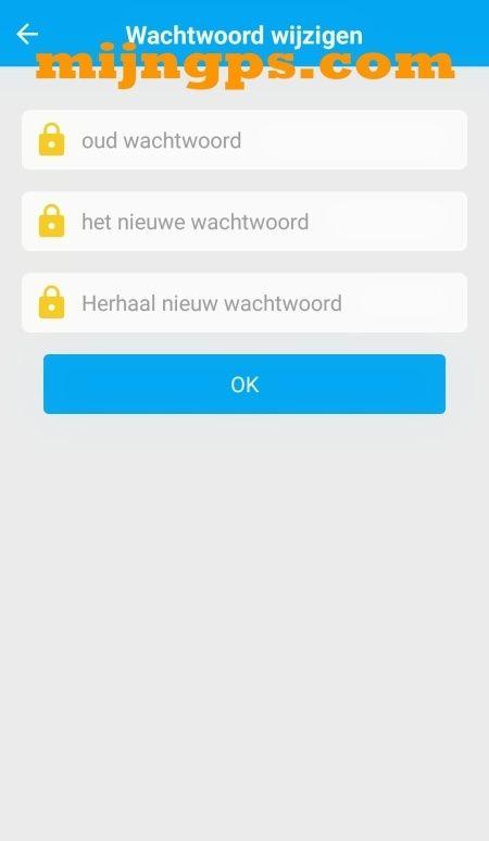 SeTracker wachtwoord wijzigen instellen