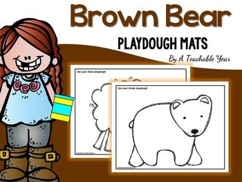 Let your kids review the Brown Bear story using these Playdough Mats.This is a set of  printable playdough activity mats  to encourage children to manipulate their dough in different ways to introduce or review the name of the characters as well as the color of them.