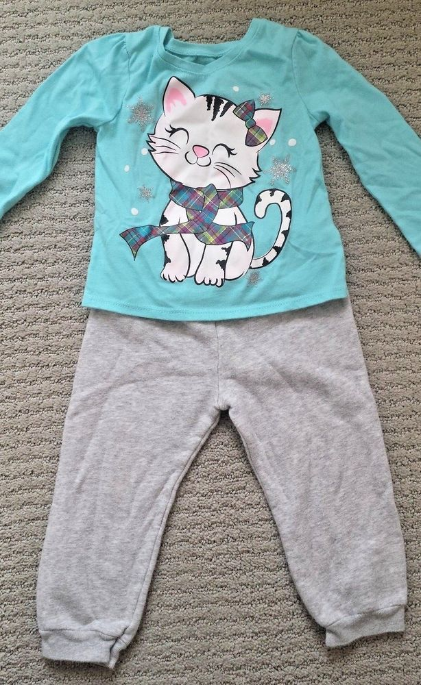 0ae2502d0c36 Garanimals Toddler Girl s Winter Kitty Outfit 2-Piece Size 2T ...
