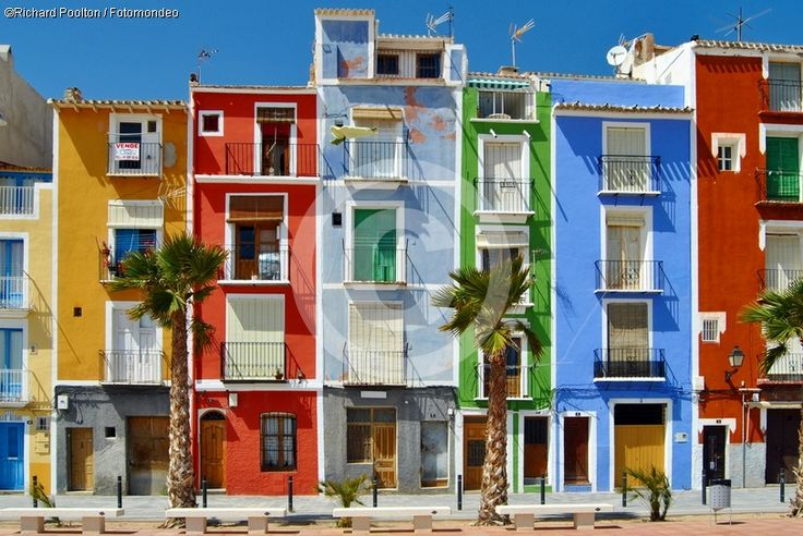 Villajoyosa, Alicante, Spain. Colourful houses.
