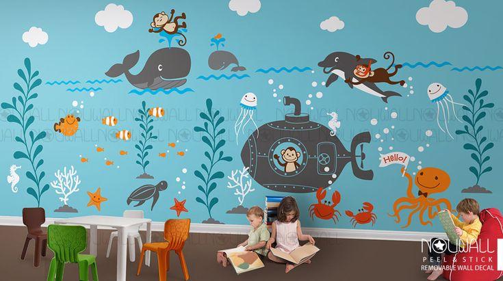 Kids Wall Decals Underwater world Whale octopus ocean by NouWall