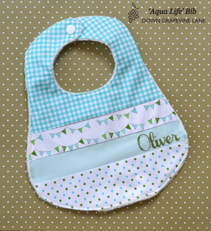 Personalized patchwork baby bib 'Aqua Life' - aqua blue bib with hand embroidered name. $20.00, via Etsy.