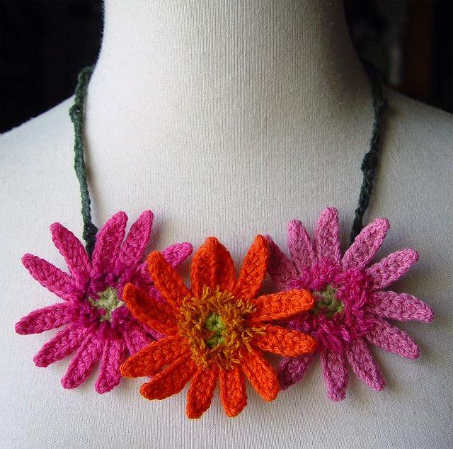 Crochet Orange and Hot Pink Gerbera Daisies Flowers Necklace by meekssandygirl, via Flickr