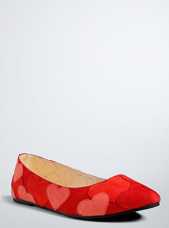 Heart Patch Flats (Wide Width), RED
