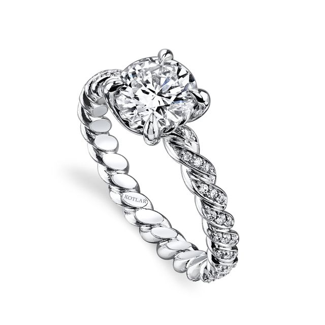 HARRY KOTLAR - Round Brilliant 1.17 CT Hand Twist Shank Ring -Platinum twists are filled with pave diamonds leading to a round diamond set atop another twist for a captivating Harry Kotlar design.