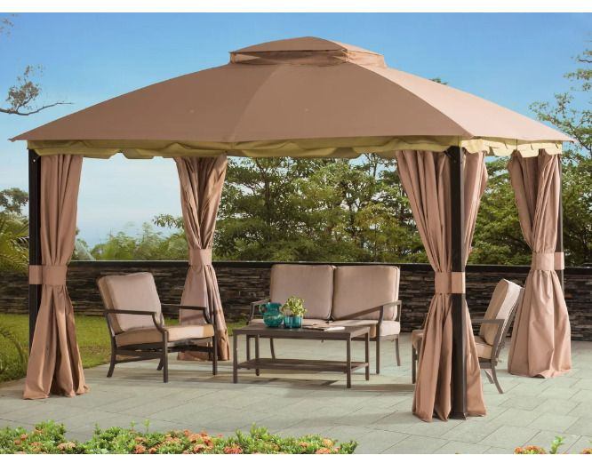 Outdoor Gazebo 12x10 Steel Frame Patio Mosquito Netting Curtains Brown Shelter Gardenideas Gazebo Gazebos Backya Patio Gazebo Steel Gazebo Portable Gazebo