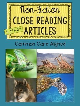 This 16 page product contains 4 non-fiction close reading articles with evidence-based questioning sheets to go with each. Great to use as a whole group lesson or in small group reading. The articles are about the following animals:-chameleons-giraffes-sea turtles-wolvesI introduce the product with examples of how I use the articles in my personal classroom.