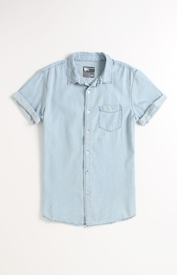 Modern Amusement Wash Short Sleeve Denim Shirt #ModernAmusement #PacSun