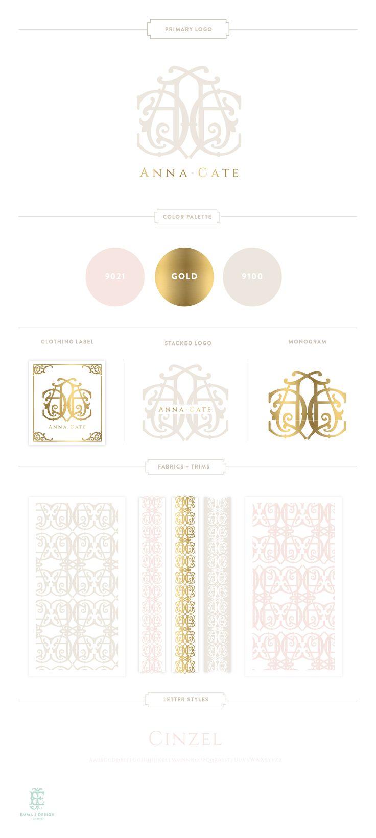 Branding Design for Anna Cate | www.EmilyMcCarthy.com | Luxury Branding, Logo, Monogram