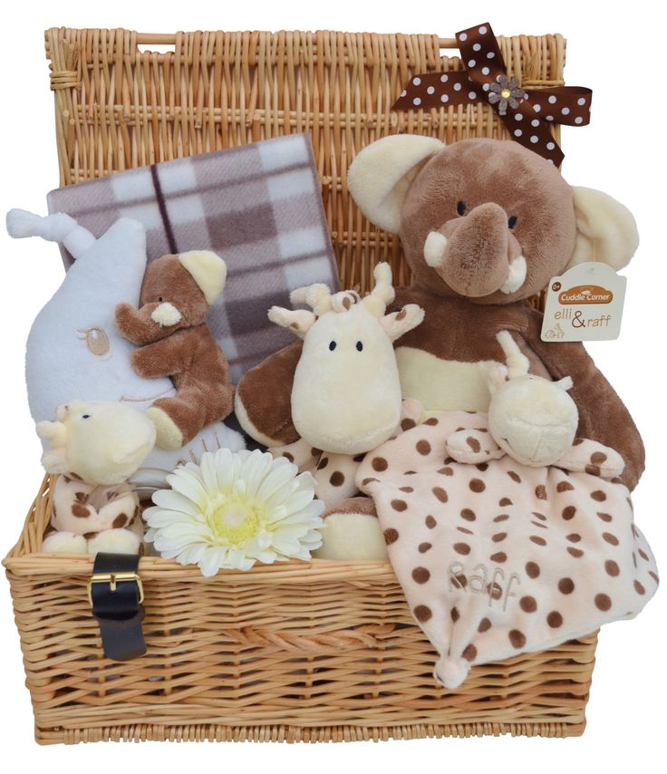 Deluxe Large Wicker Neutral Elli & Raff Themed Baby Gift Hamper - from Packaged to Perfection