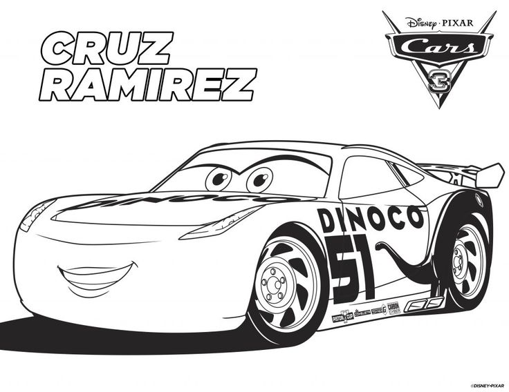 Free Printable Cars Coloring Pages (Cruz Ramirez) and Disney Cars 3 Bookmark. Use them as a kids activity for a Cars Birthday Party or add them to your Cars Birthday Party Favor. More Disney Cars Free Printable on the blog, www.anytots.com