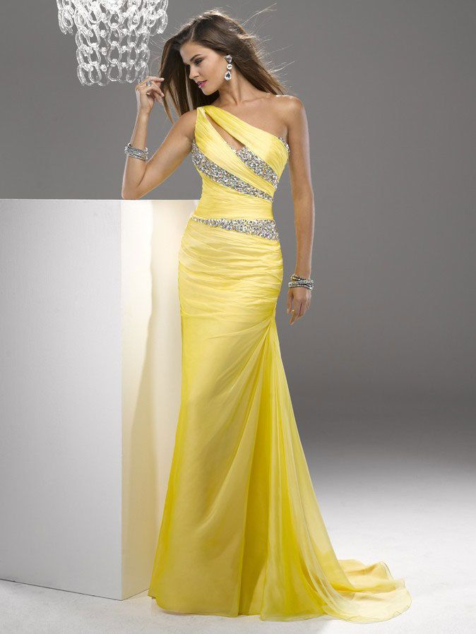 Sheath/Column One Shoulder Sleeveless Floor-length Chiffon Prom Dress/Evening Dress