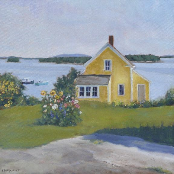 """Yellow House"" by Karen McManus. 10"" x 10"" Oil. Available at Maine Art Paintings & Sculpture."