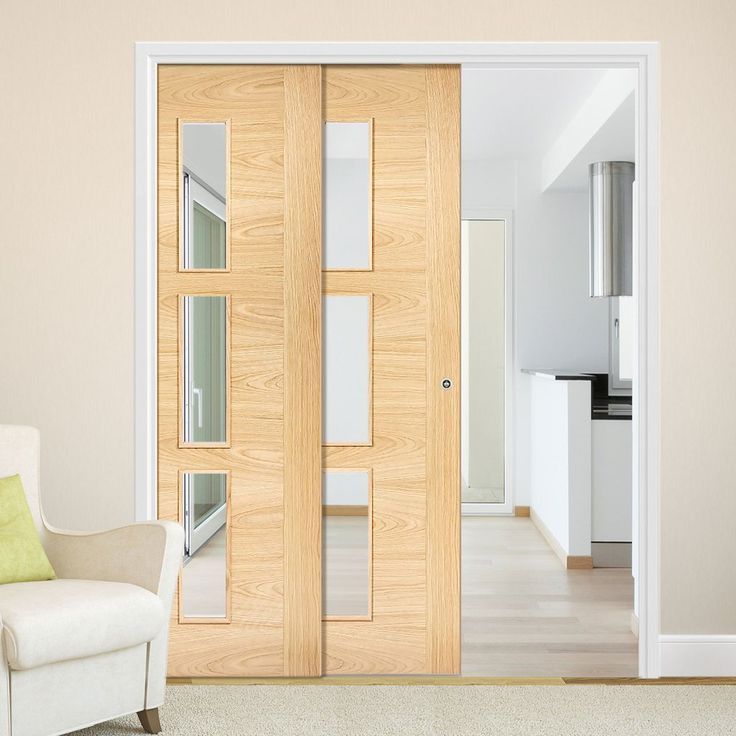 Twin Telescopic Pocket Sofia 3L Oak Veneer Doors - Clear Glass - Prefinished.      #pocketdoor  #interiordesign  #oakdoor  #telescopicdoors