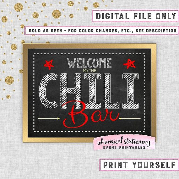 Chili Bar Party Food Table Sign Printable by WhimsicalStationery