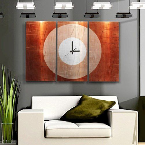 Large Contemporary Wall Clock with Orange, Silver & Copper Jewel Tone Fusion - Modern Metal Art Wall Home Accent - Hanging Wall Clock - Endless Time Clock By Jon Allen  Orange wall art is a vivid, playful and fun way to decorate your home with.  Combine orange wall art with orange home décor accents to create a warm and inviting space.  Orange wall art creates a bold impression that friends and family will remember.