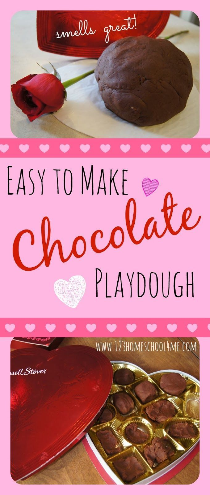 Chocolate Playdough Recipe - This easy to make play dough recipe is fun to play with, smells amazing, and lasts a couple years! Perfect for Valentines Day Activity for toddler, preschool, or kindergarten in February (sensory play, valentines day activity, playdough recipes, play, kids activities)
