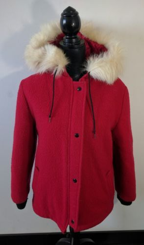 Vintage Inuit Fur Trimmed Parka 100% Red Wool Size 10 Full Zip Short Coat Jacket