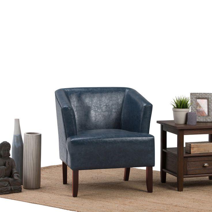 Best Brooklyn Max Dennison Faux Leather Accent Chair Denim 400 x 300