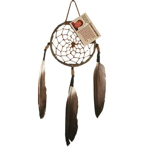 """Native American Dreamcatcher - Common to many Native American nations, dreamcatchers are typically made from sinew strands woven in a web around a small round or tear-shaped frame. The resulting """"dream-catcher"""" is hung as a charm on or near the bed to protect sleeping children from nightmares. The legend is that the bad dreams will get caught in the web. Feathers are often used as decoration so that good dreams could pass through the web and slide down the feathers to the sleeper."""