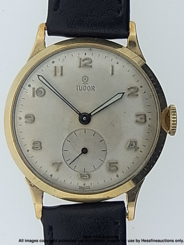 Scarce 9k Gold Rolex Tudor 15 Jewels Large Mens Vintage Dress Wrist Watch
