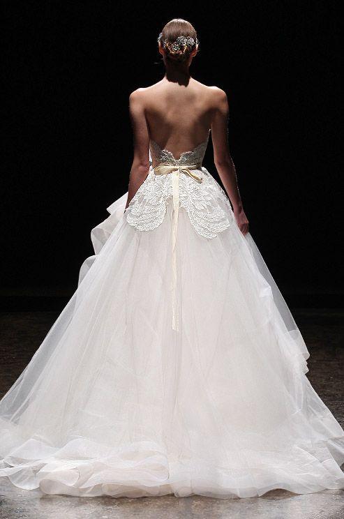 Soft blush color tulle wedding dress. Lazaro, Spring 2014