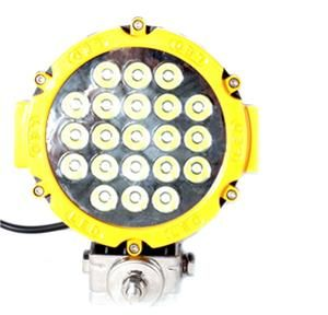 Driving, Work, Spot, Light LED 63W  Operating Voltage: 10-30V DC  Waterproof rating: IP 67  21*3w high intensity Epsitar LEDs  Luminous Flux 4725lm  Optional Color: Black & Red  Color Temperature: 6500K  Material: Die cast aluminum housing  Lens material: Toughened Glass  Mounting Bracket: Aluminium  Beam: 30 degree  Expected Life 30000+ hours  Certificates: CE RoHs