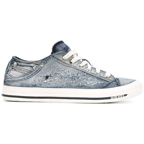 Diesel Denim Sneakers (475 QAR) ❤ liked on Polyvore featuring shoes, sneakers, blue, diesel shoes, lace up sneakers, destroy shoes, laced up shoes and blue denim shoes