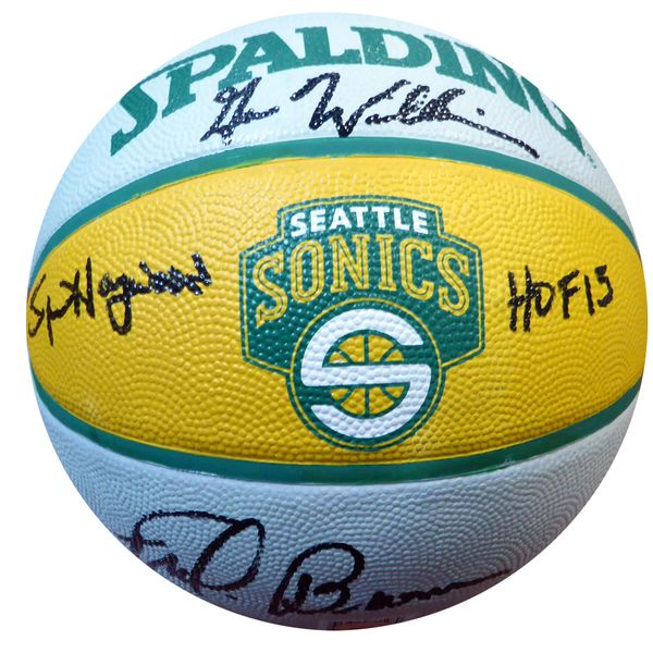 "Fred Brown, Gus Williams & Spencer Haywood """"HOF 15"""" Autographed Seattle Sonics Basketball - MCS COA"