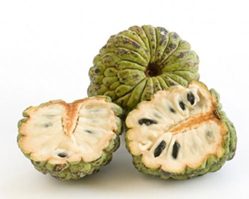 """Cherimoya  Mark Twain once referred to the cherimoya as """"the most delicious fruit known to men."""" Although its flavor is often likened to that of a cross between a banana and a pineapple, the flesh of this exotic fruit has also been described as similar to commercial bubblegum."""