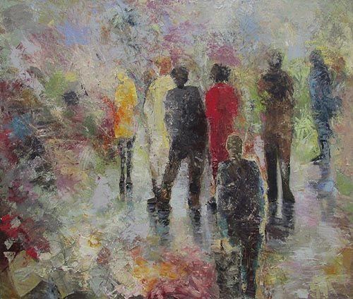 "Nancy De Boni, Seven, oil on canvas, 44""x52"". $3500"