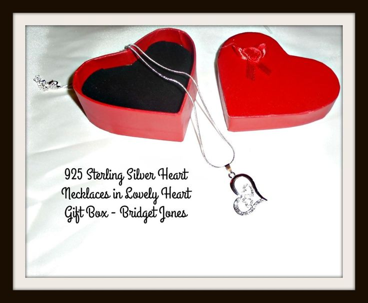 HEART NECKLACES 925 Sterling Silver with Crystals - Bridget Jones - Gift - NEW