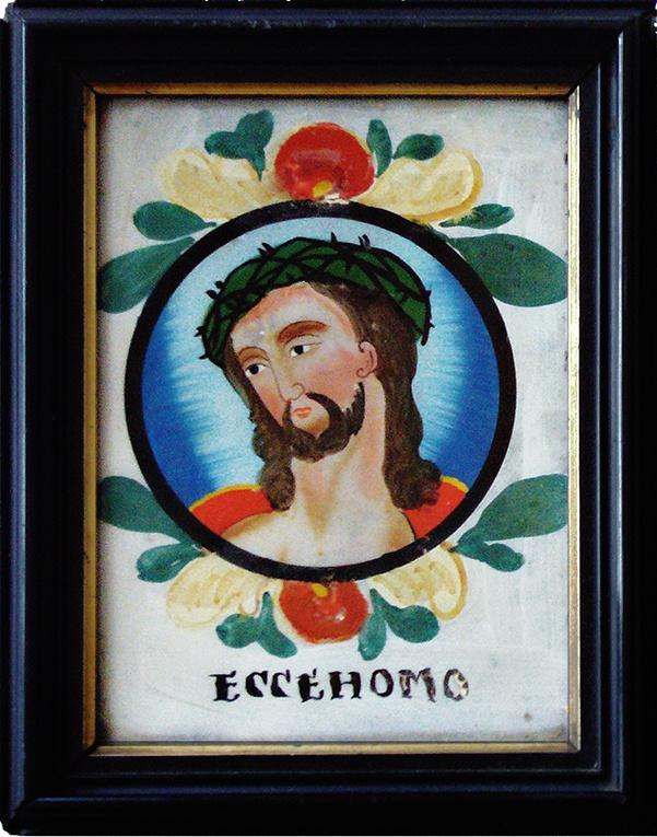 Ecce Homo, Hinterglasbild,  Schwarzwald? 19. Jahrhundert, Rahmen 15,8 x 20 cm, Innen 11 x 15,5 cm