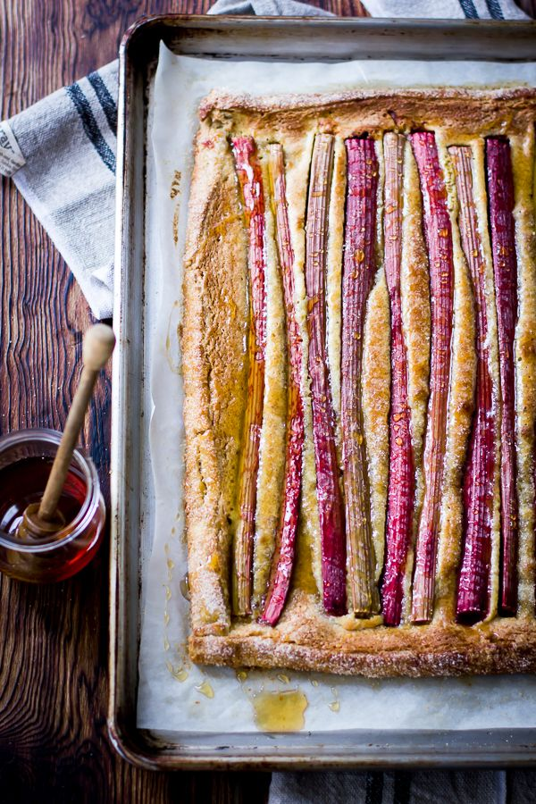 Rustic Rhubarb, Almond & Honey Tart via The Bojon Gourmet