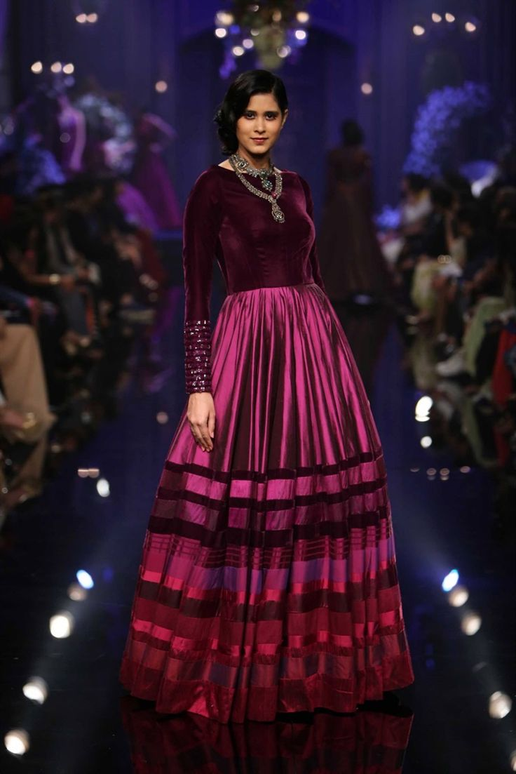 velvet maroon ombre gown by Manish Malhotra at Lakme Fashion Week