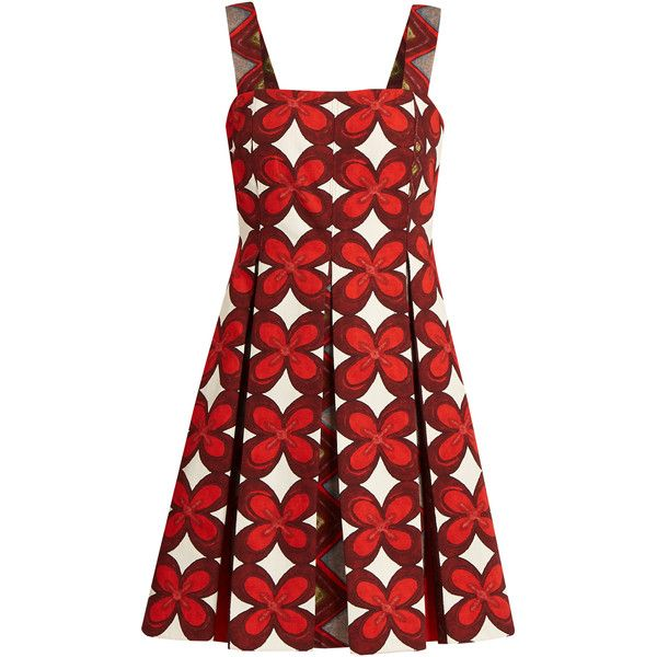 Valentino Cuban flower-print pleated mini dress ($3,350) ❤ liked on Polyvore featuring dresses, red multi, mini dress, flower print dress, short dresses, short floral dresses and pleated dress