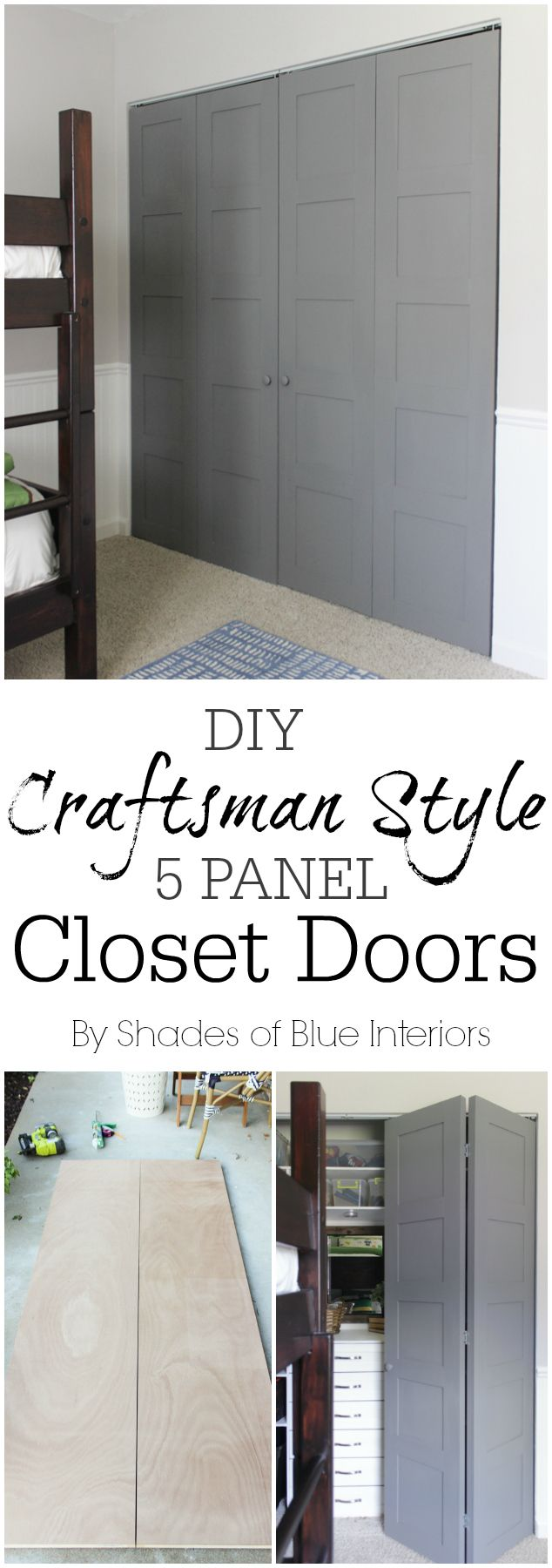 DIY Craftsman Style 5 panel closet doors -bifold closet door update