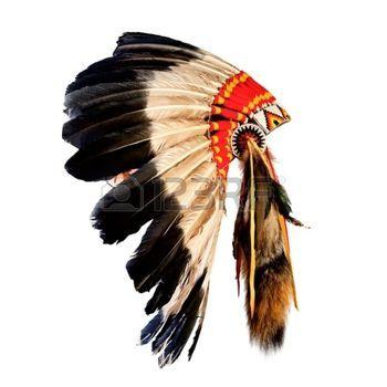 american indian: native american indian chief hoofdtooi (indische leider mascotte, indische stammen hoofdtooi, Indisch hoofddeksel) Stockfoto