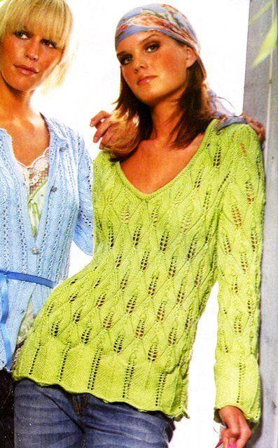 """Пуловер с узором """"листья"""""""