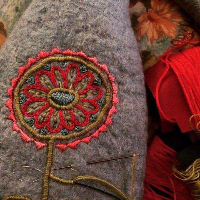 embroidery on wool - Work in progress