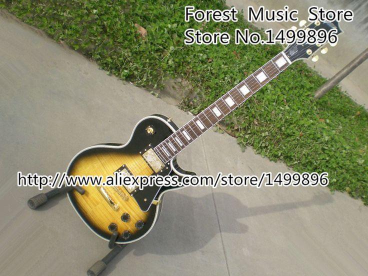 Vintage Sunburst LP Guitars Tiger Flame Finish LP Custom Electric Guitar Left Handed Custom Available #Affiliate
