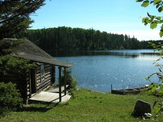 Cabin, woods, lake