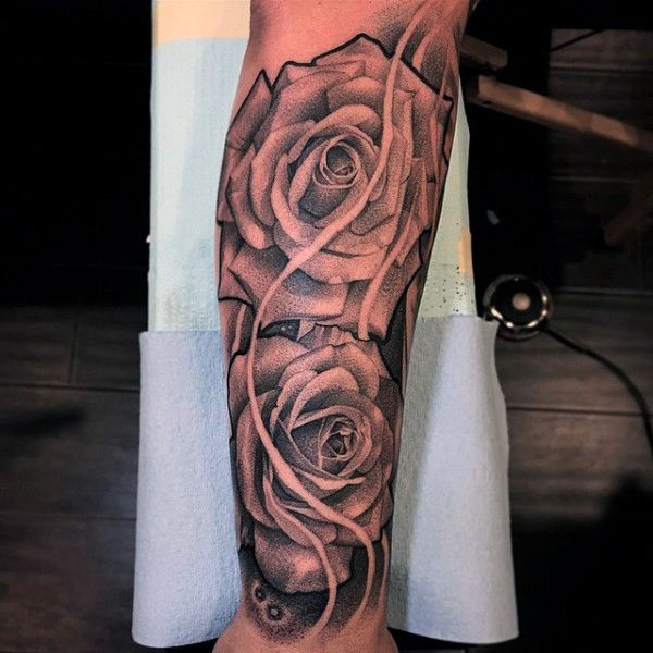 rose flowers half sleeve forearm tattoos for men black and gray tattoo pinterest men 39 s. Black Bedroom Furniture Sets. Home Design Ideas