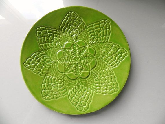 Apple Green Ceramic Lace Dessert Plate Ivory Green by Ceraminic