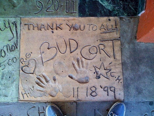 Bud Cort   Flickr - Photo Sharing by Ben Goetting. Bud Cort's handprints, Hal Ashby's, Ruth Gordon's and Colin Higgins' initials in the cement in Hollywood. Via the poliblog •