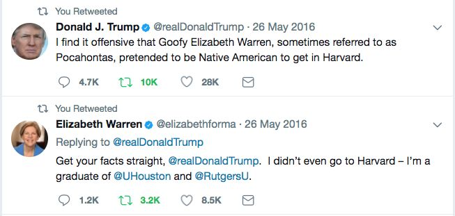 "President Donald Trump renewed his war of words on Senator Elizabeth Warren (D-MA) during his appearance on Fox & Friends this morning. The President claimed that called Senator Warren ""Pocahontas"" is a mistake because it is an insult to the historical Pocahontas. ""She's a hopeless case. I call her Pocahontas, and that's an insult to Pocahontas,"" the President said. The President has a long history of giving nicknames to those that he doesn't like, especially women. During campaign electi..."
