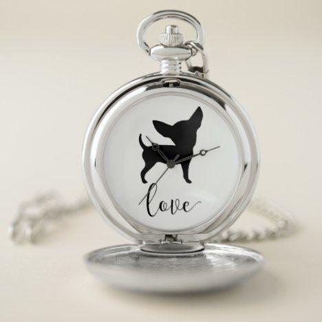 Black Chihuahua Love Silver Pocket Watch #pocketwatch