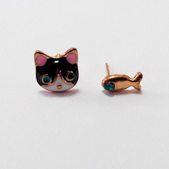 náušnice rybka a kočka