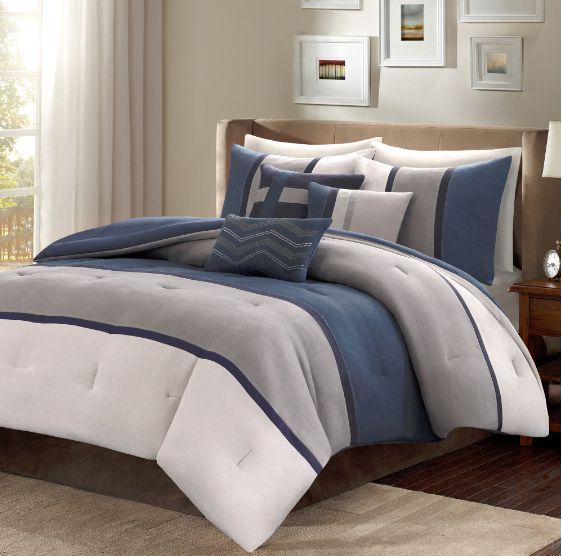 King Size Comforter Set Bedding Navy Blue Luxurious Reversible Bedspread 7 PC #MadisonPark