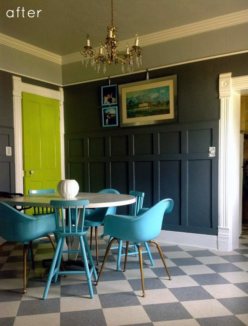 love that gray ceiling that comes down onto the walls. and the dark walls!: Decor, Wall Colors, Dining Rooms, The Doors, Colors Combos, Green Doors, Floors, Doors Colors, Dark Wall